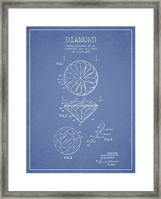 Diamond Patent From 1966- Light Blue Framed Print by Aged Pixel