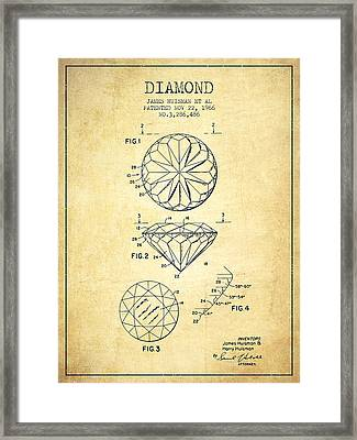 Diamond Patent From 1966- Vintage Framed Print by Aged Pixel