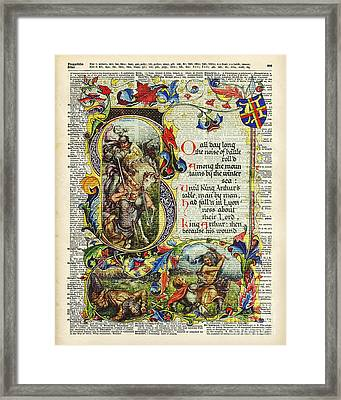 Dictionary Art - King Artur Story Book  Framed Print by Jacob Kuch