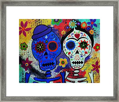 Diego Rivera And Frida Kahlo Dia De Los Muertos Framed Print by Pristine Cartera Turkus