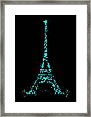Digital-art Eiffel Tower Cyan Framed Print by Melanie Viola