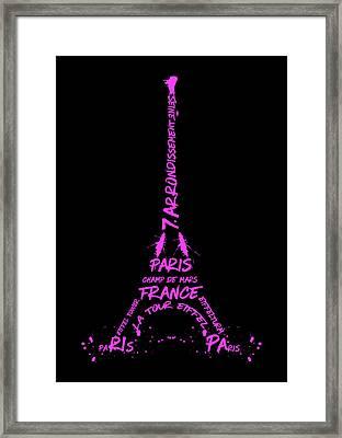 Digital-art Eiffel Tower Pink Framed Print by Melanie Viola