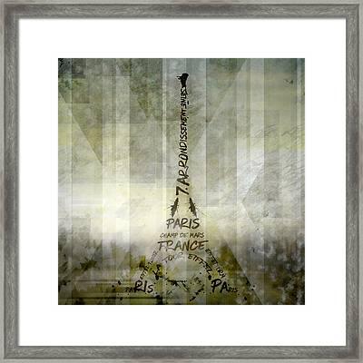 Digital-art Paris Eiffel Tower Geometric Mix No.1 Framed Print by Melanie Viola