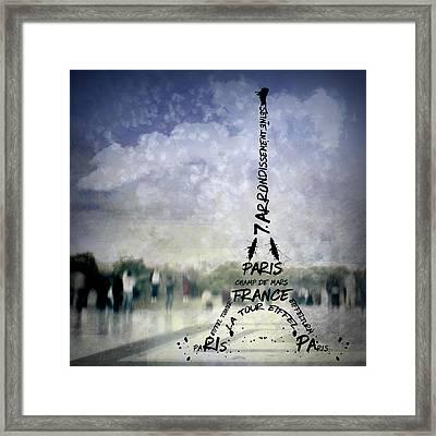 Digital-art Paris Eiffel Tower No 1 Framed Print by Melanie Viola