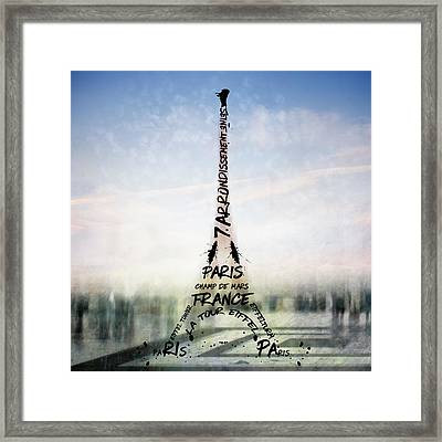 Digital-art Paris Eiffel Tower No 3 Framed Print by Melanie Viola