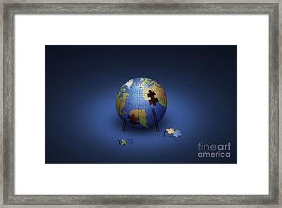 Digitally Generated Image Of The Earth Framed Print by Vlad Gerasimov