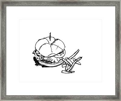 Diner Drawing Charbroiled Chicken 1 Framed Print by Chad Glass