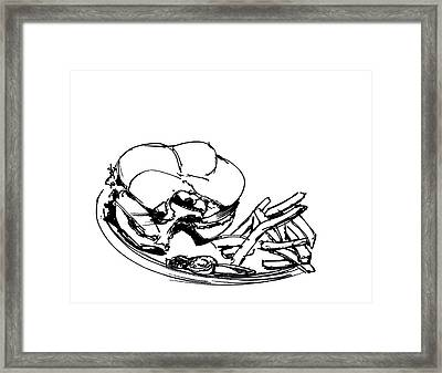 Diner Drawing Charbroiled Chicken 2 Framed Print by Chad Glass