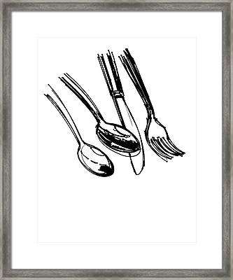 Diner Drawing Spoons, Knife, And Fork Framed Print by Chad Glass