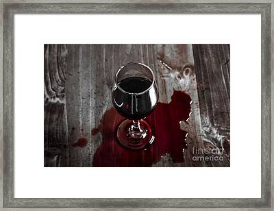 Diner Table Accident. Spilled Red Wine Glass Framed Print by Jorgo Photography - Wall Art Gallery