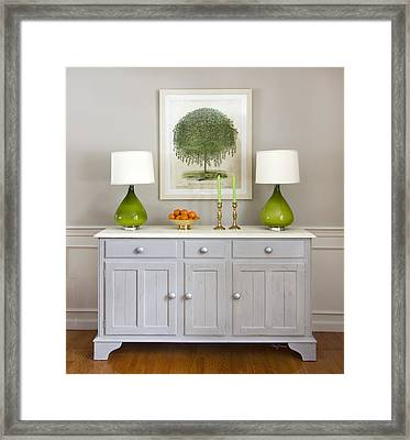 Dining Room Credenza With Green Lamps Framed Print by Betty Denise