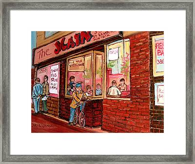 Dinner At The Main Steakhouse Framed Print by Carole Spandau