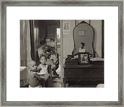 Dinner Time At The Home Of Mrs. Ella Framed Print by Everett