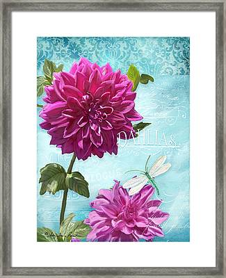 Dinnerplate Dahlia Flower W Dragonfly Framed Print by Audrey Jeanne Roberts
