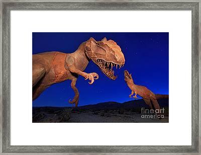 Dinosaur Battle In Jurassic Park Framed Print by Sam Antonio Photography