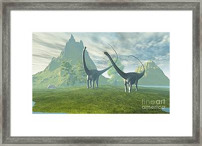 Dinosaur Land Framed Print by Corey Ford