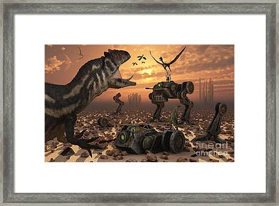 Dinosaurs And Robots Fight A War Framed Print by Mark Stevenson