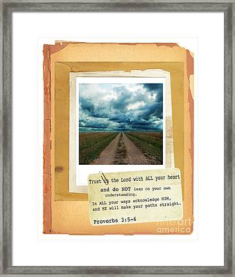 Dirt Road With Scripture Verse Framed Print by Jill Battaglia