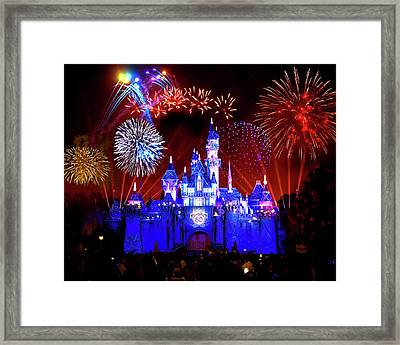 Disneyland 60th Anniversary Fireworks Framed Print by Mark Andrew Thomas