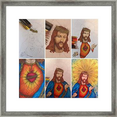 Sacred Heart Of Jesus Christ Drawing Framed Print by Kent Chua