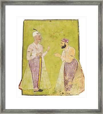Divan Munir-al-mulk Offering Respect To Nizam Ali Khan Asaf Jah II Framed Print by Celestial Images