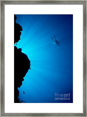 Diver, Wall And Sunrays Framed Print by Dave Fleetham - Printscapes