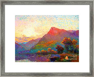 Buddha Meditation, Divine Light Framed Print by Jane Small