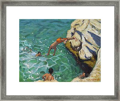 Diving And Swimming, Skiathos Framed Print by Andrew Macara