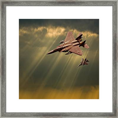 Diving Eagles Framed Print by Meirion Matthias