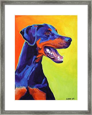 Doberman - Miracle Framed Print by Alicia VanNoy Call