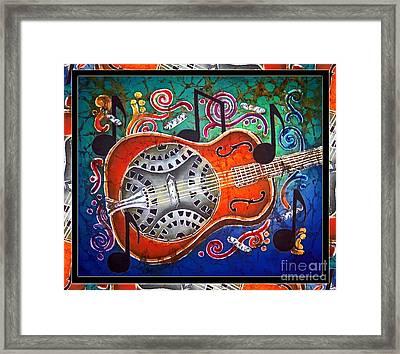 Dobro - Slide Guitar-bordered Framed Print by Sue Duda