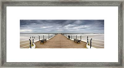 Dock With Benches, Saltburn, England Framed Print by John Short