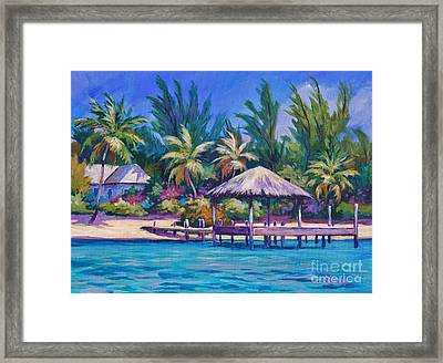 Dock With Thatched Cabana Framed Print by John Clark