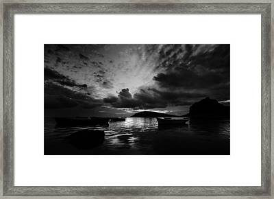 Docked At Dusk Framed Print by Julian Cook