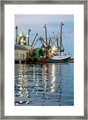 Docked In Montauk Framed Print by Art Block Collections