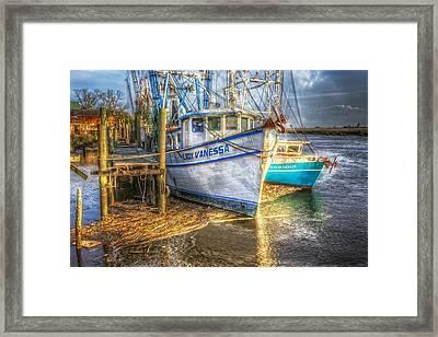 Dockside Framed Print by Debra and Dave Vanderlaan
