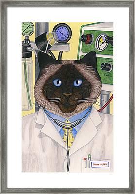 Doctor Cat Framed Print by Carol Wilson