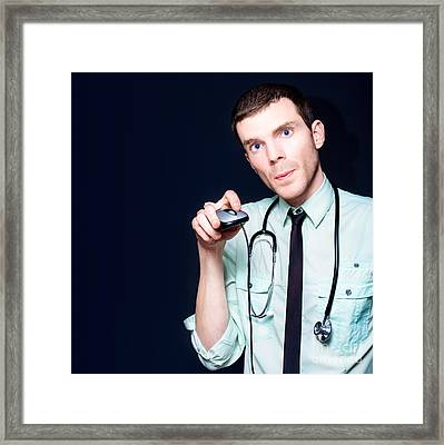 Doctor Going Online For Medical Health Care Framed Print by Jorgo Photography - Wall Art Gallery