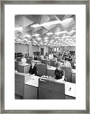Document Data To Punch Cards Framed Print by Underwood Archives