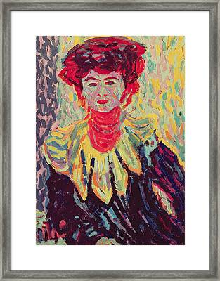 Dodo Or Isabella With A Ruffed Collar Framed Print by Ernst Ludwig Kirchner