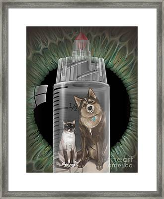 Dog And Cat Vaccinations, Illustration Framed Print by DNA Illustrations