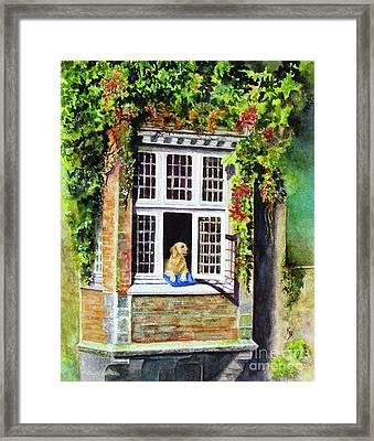 Dog In The Window Framed Print by Karen Fleschler