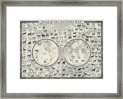 Dog Lovers Map 1936 Framed Print by Daniel Hagerman