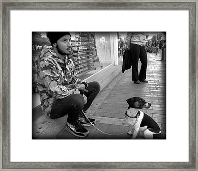 Dog Man Framed Print by Daniel Gomez
