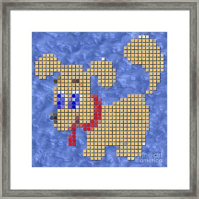 Dog Pixelated Framed Print by Miroslav Nemecek