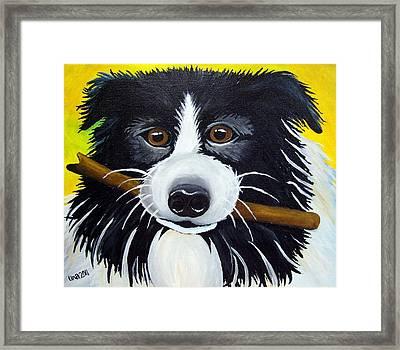Dog Framed Print by Una  Miller