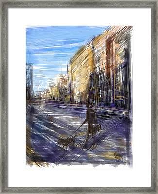 Dog Walks Man Framed Print by Russell Pierce