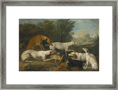Dogs In A Landscape With Their Catch Framed Print by Celestial Images