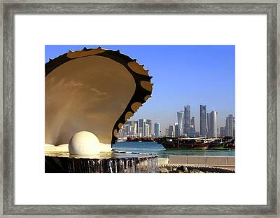 Doha Fountain Skyline And Harbour Framed Print by Paul Cowan