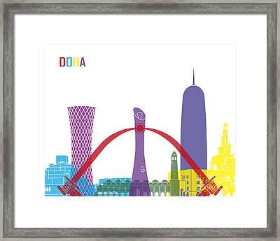 Doha Skyline Pop Framed Print by Pablo Romero